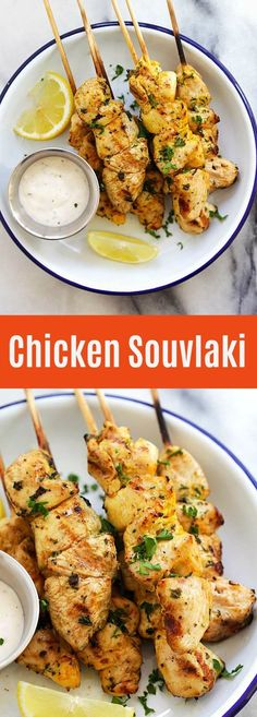 Chicken Souvlaki – juicy and moist grilled Greek chicken souvlaki recipe made with garlic, yogurt, lemon and olive oil. The best chicken on a stick ever | rasamalaysia.com