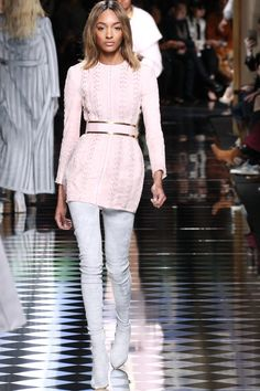 Pin for Later: See Kendall and Gigi Walk the Balmain Runway —If You Can Tell Them Apart Jourdan Dunn Showed Off Olivier Rousteing's Signature Details In pastel pink and blue!