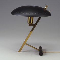 Phillips brass and enameled metal desk lamp attributed to Pierre Paulin