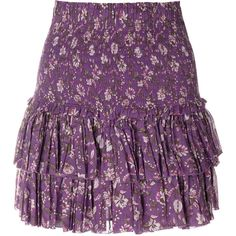 Isabel Marant Étoile floral frill-trim skirt ($240) ❤ liked on Polyvore featuring skirts, short skirt, cotton summer skirts, elastic waist skirt, ruffle skirt and summer skirts