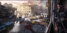 ArtStation - After the War - Abandoned city, Dan Iorgulescu City Painting, Image Painting, Painting & Drawing, Apocalypse Landscape, Abandoned Cities, Post Apocalypse, City Landscape, Concept Art, War