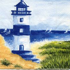 Mis Laminas para Decoupage (pág. 411) | Aprender manualidades es facilisimo.com Watercolor Illustration, Watercolor Paintings, Lighthouse Painting, Lighthouse Pictures, Acrylic Wall Art, Seascape Paintings, Beach Art, Rock Art, Canvas Art Prints