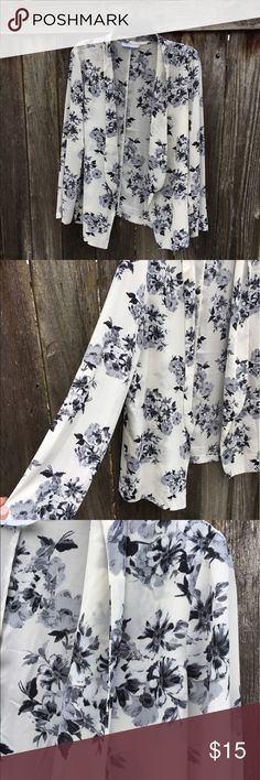 Floral Print Sheer Layering Jacket Light weight layering cardigan! Neutral colors so you can pair it with a cute pop of color or just some simple black skinny jeans and booties! Nordstrom Sweaters Cardigans