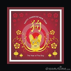 Illustration about Chinese Greeting Card for New Year 2018 design template for Year of dog with good and new design. Illustration of celebration, background, ancestors - 96472509 New Year 2018, Chinese Zodiac Signs, Dog Years, Chinese New Year, Good News, Tweety, Badge, Greeting Cards, Template