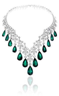 Chopard Brilliant White Diamonds and 13 Pear Shape Emeralds Necklace