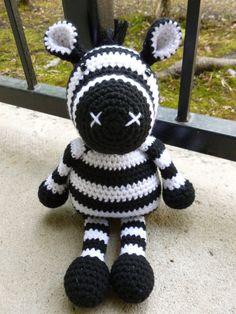 Zack the Zebra Crocheted Toy by CurlyTopCorner on Etsy, $44.99