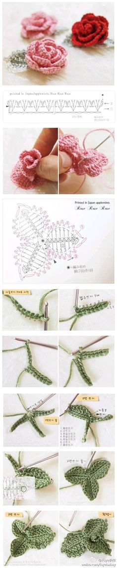 Crochet rose and leaf u2665LCF-MRSu2665 with diagram and picture instructions.