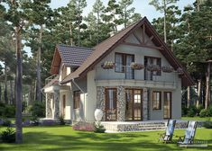 Projekt domu LK&731 Modern Barn House, Modern Bungalow House, Three Bedroom House Plan, Small Country Homes, Stucco Homes, Modern Architecture House, Home Design Plans, Cottage Homes, Home Fashion