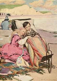 'Paul Dombey and Florence on the Beach at Brighton' (Dombey and Son). Jessie Willcox Smith illustration from 'Dickens's Children'.