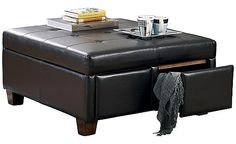 Durahide Bicast - Brown Storage Ottoman- Since I ruined my coffee table with nail polish remover its time to replace. I LOVE this!