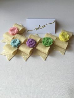 Love the chunky glitter fabric and felt rose detail on these pastel girls hair bows A personal favourite from my Etsy shop https://www.etsy.com/uk/listing/292476375/glitter-felt-hair-bows-pastel-bows-felt