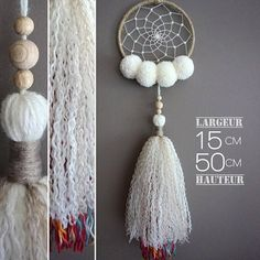 A dream catcher original, very soft and light with its round 4 tassels and a very airy tassel fringe. Natural colors accented by a multicolored wool yarn. Dream Catcher Decor, Dream Catcher White, Yarn Crafts, Diy And Crafts, Arts And Crafts, Boho Diy, Bohemian Decor, Sun Catchers, Ideas Hogar