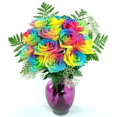 Rainbow Roses on the living room table. YES !