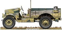 "Captured Morris CS8  15cwt, .75-ton, 4x2,  Light Truck in DAK service. Note unchanged so-called ""Caunter"" camouflage painting"