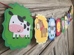 This farm barnyard birthday banner will make a great addition to your next celebration! Many options are available: A banner with just animals or animals on each end with any text you desire! Banners are available without bows or with bows if its for a girl! Use dropdown to make your selection! Default shapes are cow, horse, sheep, chick and pig. Barn and tractor image also available upon request! Matching cupcake toppers, centerpieces, cake toppers, welcome signs, tags and high chair…
