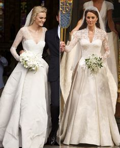 This past year was a big one for many celebrity weddings. This makes us happy because we love to look back on the beautiful gowns they wore. Famous Wedding Dresses, Celebrity Wedding Dresses, Wedding Dresses 2014, Wedding Dress Styles, Celebrity Weddings, Wedding Gowns, Kate Middleton Wedding, Black Bridesmaid Dresses, Royal Weddings