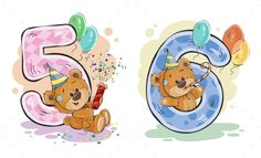 Vector set of numbers being in the legs in a fun teddy bears, template greeting card for a birthday child. Part two ¨C the numbers