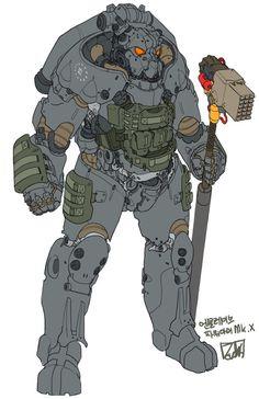 tactical power armor by obokhan on DeviantArt Fallout Fan Art, Fallout Concept Art, Character Concept, Character Art, Fallout Power Armor, X01 Power Armor, Post Apocalyptic Art, Arte Robot, Robot Art