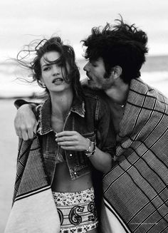 "For those romantics at heart, the super talented fashion photographer Will Davidson captures Tyson Ballou and Diana Dondoe as young free spirited nomad lovers in this gorgeous editorial spread ""Swept Away"" that was featured in Harper's Bazaar Australia.    Fashion, Fashion Editorial, Black and White Photography, Beach, Beach Fashion Editorial, Beauty, Romance, Love"