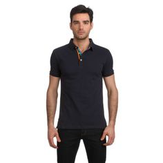 Jared Lang Knit Polo With Contrast Collar