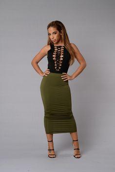 Olive Oil Skirt - Olive