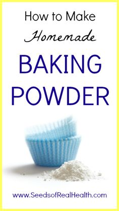 Homemade Baking Powder Recipe - 1 part baking soda, 1 part arrowroot powder, 2 parts cream of tarter, mix together & store in tightly sealed jar. Homemade Baking Powder, Baking Powder Recipe, Real Food Recipes, Cooking Recipes, Cream Of Tarter, Homemade Seasonings, Food Facts, Dessert, How To Make Homemade