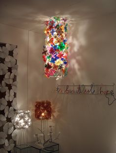 Flower lamp by Heath Nash. Made of recycled plastic