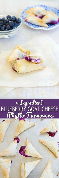 These Blueberry Goat Cheese Phyllo Turnovers make the most irresistibly flaky and delicious desserts or appetizers. 54 calories and 2 Weight Watchers Freestyle SP Brownie Desserts, Mini Desserts, Delicious Desserts, Yummy Food, Tasty, Sweet Desserts, Plated Desserts, Smores Dessert, Dessert Bars
