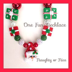 Christmas Santa Claus Chunky Bead Bubblegum Bead by OneFunNecklace, $26.00