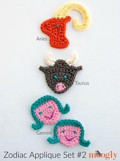 Zodiac Crochet Appliques: FREE on Mooglyblog.com! This set includes Aries, Taurus, and Gemini.