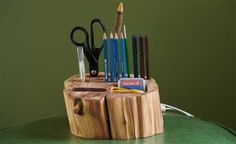 wood block stationery holder desk office