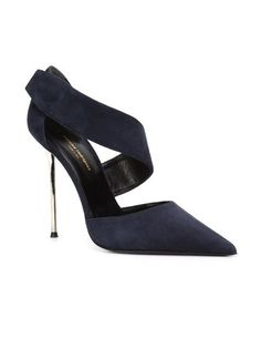 """Narciso Rodriguez """"Stiletto Pump"""" in navy suede, with a pointed toe, a d'Orsay silhouette, a wide asymmetrical wraparound instep-to-ankle strap and a very high silver-tone metal pin heel 