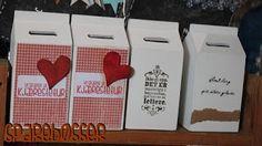 sparebøsser i tre - m papir og rubons pynt Container