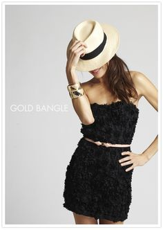 black party dress with fedora #camillestyles