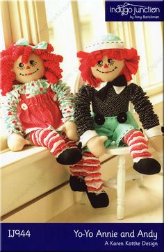 Fabric Yo-Yo Patterns - Raggedy Ann and Andy
