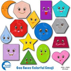 Emoji Clipart Faces Clipart Feelings Clipart Geometric Shapes Clipart Shapes Clip Art Commercial use Digital Clip Art Emoji Clipart, Puzzles For Toddlers, Image Paper, Shape Matching, Different Emotions, Classroom Decor, Preschool Activities, Geometric Shapes, Crafts For Kids