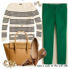 Green & Leopard Outfits | ... with green pants and leopard flat -- outfits that don't go wrong