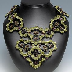2009 Bead Dreams - only time I've won anything, 2nd place in the Seed Bead Category - Green Goddess bead quilled necklace www.kathykingjewelry.com