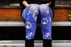 SPACE CATS leggings digitally printed Supayana. $65.00, via Etsy.