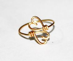 Gold Wire Double Hearts Ring - Heart To Heart Ring Adjustable via Etsy from FabulousWire.