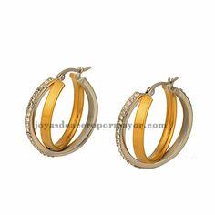 aretes de aros 31mm estilo cristal especial en acero dorado inoxidable-SSEGG243182