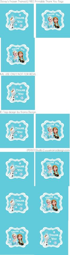 Frozen Free Printable Thank You Tags by Kroma Design Studio | Scribd
