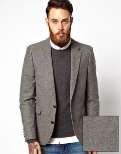 ASOS Slim Fit Grey Blazer in Tweed - $145.00
