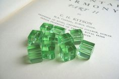 SALE Lime Cubes glass beads  8mm square  10 pieces by luvlycake (Craft Supplies & Tools, Jewelry & Beading Supplies, Beads, green cube, square ice, peridot moss, apple leaf, spring summer, british uk, manchester love, dailychallenge)