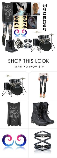 """""""Punk Rock Band - Drummer"""" by blackest-raven ❤ liked on Polyvore featuring Yamaha, Junk Food Clothing, PLDM by Palladium and Eva Fehren"""