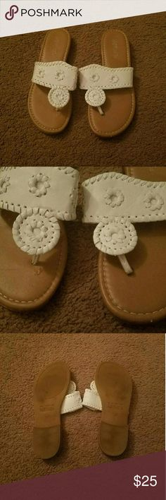 Jack Roger Inspired Sandals White and tan sandals. These are NOT Jack Rogers, but they look similar to them. They are Hot Cakes brand. 3 minor imperfections. 2 of them are not visible while wearing and the 3rd is hardly noticeable. See 2nd picture for them. Hardly worn. No trades. Accepting reasonable offers.  Cannot model. Bundle for discount. Hot Cakes Shoes Sandals
