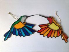 Stained Glass Suncatcher - Hummingbird, Bird, Painted on Acrylic Glass