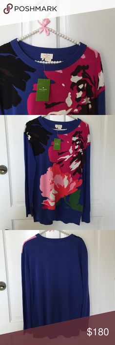 """NWT Sz Small kate spade floral blue sweater New with tags! Size small kate spade popover sweater. Royal blue with vibrant floral design. Solid blue sleeves and back. Front 26"""" long; back 27"""" long. Adorable with white denim on a cool summer night or paired with your favorite black pants in winter! Great versatile piece! kate spade Sweaters Crew & Scoop Necks"""