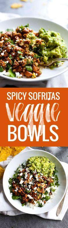 Spicy Sofritas Veggie Bowls - make these Chipotle-inspired vegan/vegetarian bowls with sofritas tofu at home!