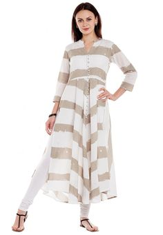 Off White Cotton Readymade Kurti 156303 Dream Wardrobes, White Cotton, Kurti, Off White, Designer Dresses, Duster Coat, Jackets, How To Wear, Shopping